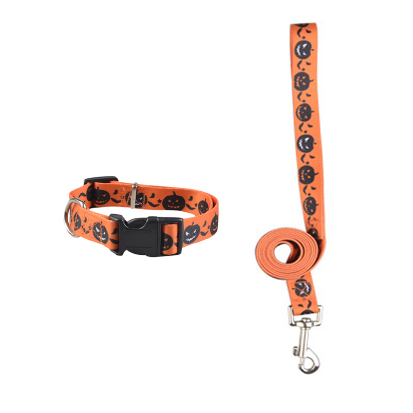 Ocardian led dog leash hot sale Small And Medium Pet Dog Vientiane Pumpkin Pattern Traction Rope Collar Set*30 Drop shipping