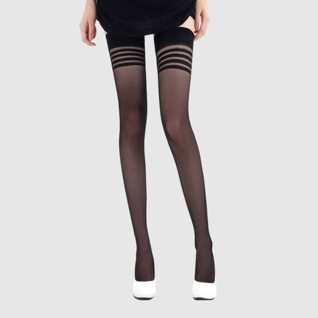 ace1c9fe429 Sexy Stocking Adults Women Stripe Stockings Thigh High Black White Stay Up  Skid Resistance leggings Long Stockings Winter