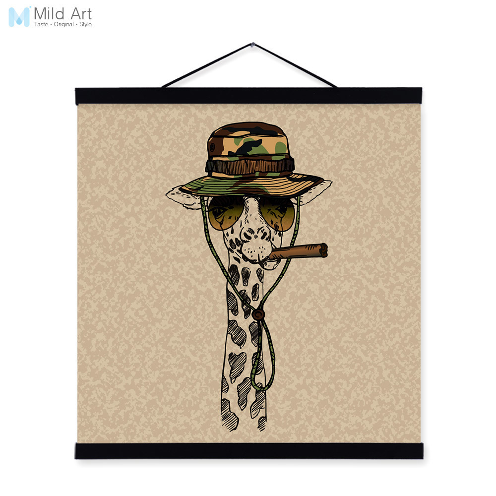 Giraffe Face Gentleman Animal Portrait <font><b>Hippie</b></font> Military A4 Framed Canvas Painting Wall Art Print Picture Poster Scroll <font><b>Home</b></font> <font><b>Decor</b></font>