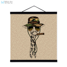 giraffe face gentleman animal portrait hippie military a4 framed canvas painting wall art print picture poster - Military Frames