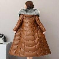 Высококачественная зимняя женская куртка пуховик из овечьей кожи 2019, пальто с капюшоном и большим лисьим меховым воротником, большие разме