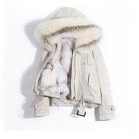 2018 реальная лиса меховой воротник пальто с капюшоном зимняя куртка Для женщин женские натуральный Лисий Мех Лайнер Толстый Теплая парка Дл