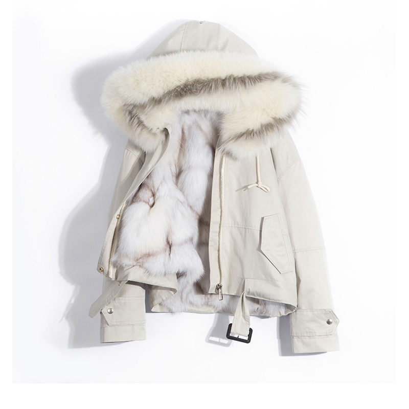 2018 Real Fox Fur Collar Hood Coat Winter Jacket Women Female Real Natural Fox Fur Liner Thick Warm Parka Women Winter Coat