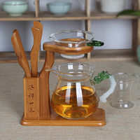 Kung fu conjunto de chá acessórios 5 pçs conjuntos de chá prateleira dreno filtro de chá fácil de espuma suporte de bambu engrossado copo justo de vidro w $