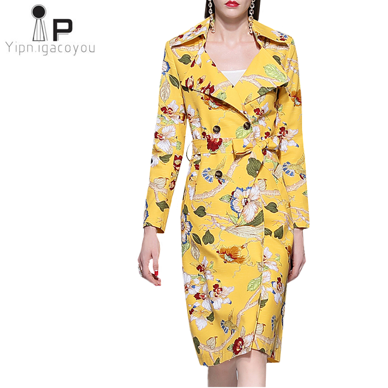 2019 Spring New England Style Long   Trench   coat Women Fashion Print Coat Ladies Double Breasted Outerwear Slim Women Windbreaker