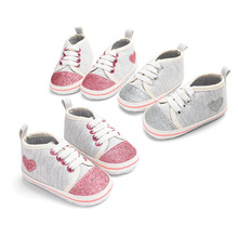 Summer Cotton Baby Shoes Kids Heart-shaped First Walker Soft Sole Girl Infant 0-18 M