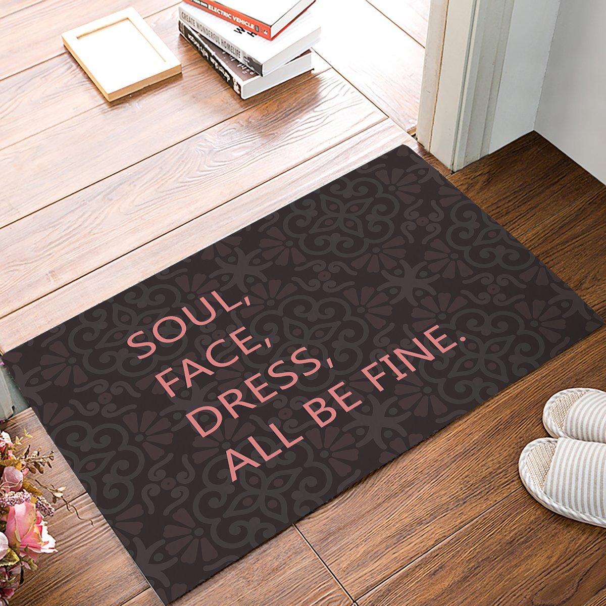 Soul, Face, Dress, All Be Fine - Vintage Retro Flower Brown Door Mats Kitchen Floor Bath Entrance Rug Mat
