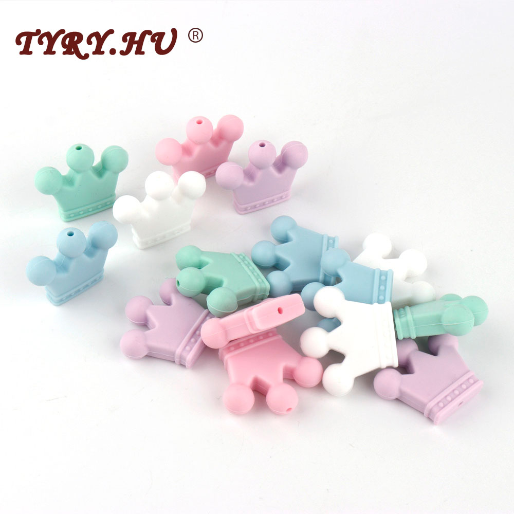 TYRY.HU 100pcs Silicone Beads Food Grade Teething Beads Pendant Crown Shape Baby Teether Relief Pain DIY Necklace Gift Toys