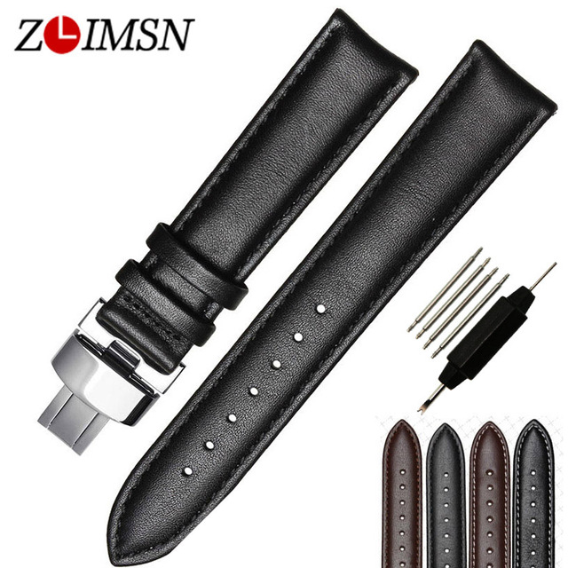 100% Genuine Leather Watchbands Black Brown Watch Strap Mens Smooth Black Brown Watch Band Strap Belt Men Women Fashion