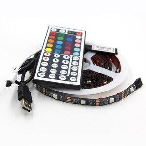 Image 4 - 1 stks USB LED Strip Lichtslingers tape Lamp 5050 SMD RGB Usb kabel afstandsbediening voor LCD Monitor TV Achtergrond licht set
