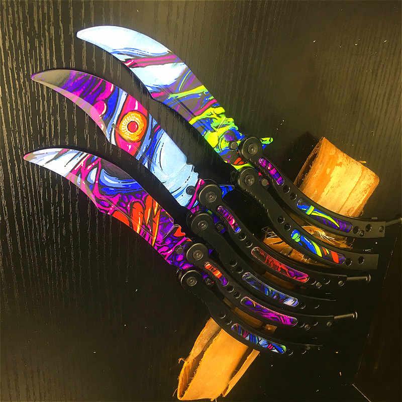CS cielo stellato Bestia Farfalla Coltello a farfalla formazione Lama Piegante Della Lama di coltello Autodifesa Coltello non affilata