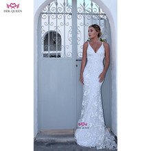 V yaka işlemeli dantel Net düğün elbisesi Mermaid avrupa tarzı mahkemesi tren Lace up saf beyaz w0504