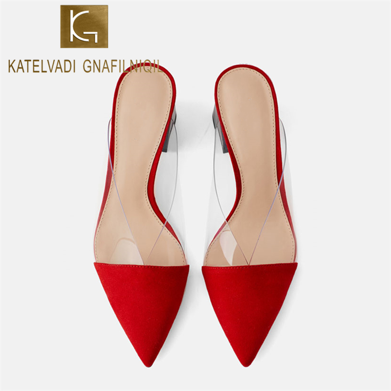 KATELVADI  Size 34-40 Women Slippers Slip On Pointed Toe Flock With PVC Summer Ladies Shoes 7CM High Heels Slippers K-396KATELVADI  Size 34-40 Women Slippers Slip On Pointed Toe Flock With PVC Summer Ladies Shoes 7CM High Heels Slippers K-396