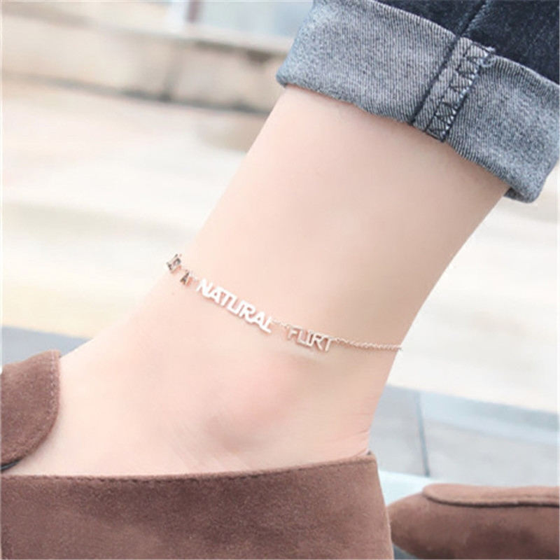 New Fashion Letter Words Charm Foot Chain Women Rose Gold Color Anklet Titanium Steel Female Personality Feet Bracelet Accessory