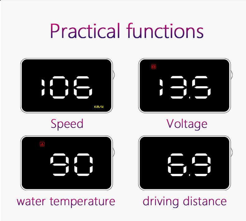 GEYIREN A1000 автомобильный HUD OBD II Дисплей на голову система Предупреждение о превышении скорости проектор лобовое стекло авто электронная сигнализация напряжения