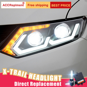 2Pcs LED Headlights For 2014-2016 Nissan X-Trail led car lights Angel eyes xenon HID KIT Fog lights LED Daytime Running Lights