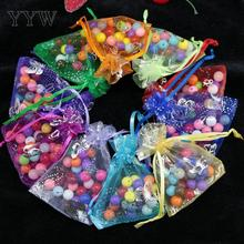 YYW 100pcs/lot 13*18CM Drawable Organza Bags Mix Color Wedding Christmas Gift Bags Candy Jewelry Packaging Organza Bags