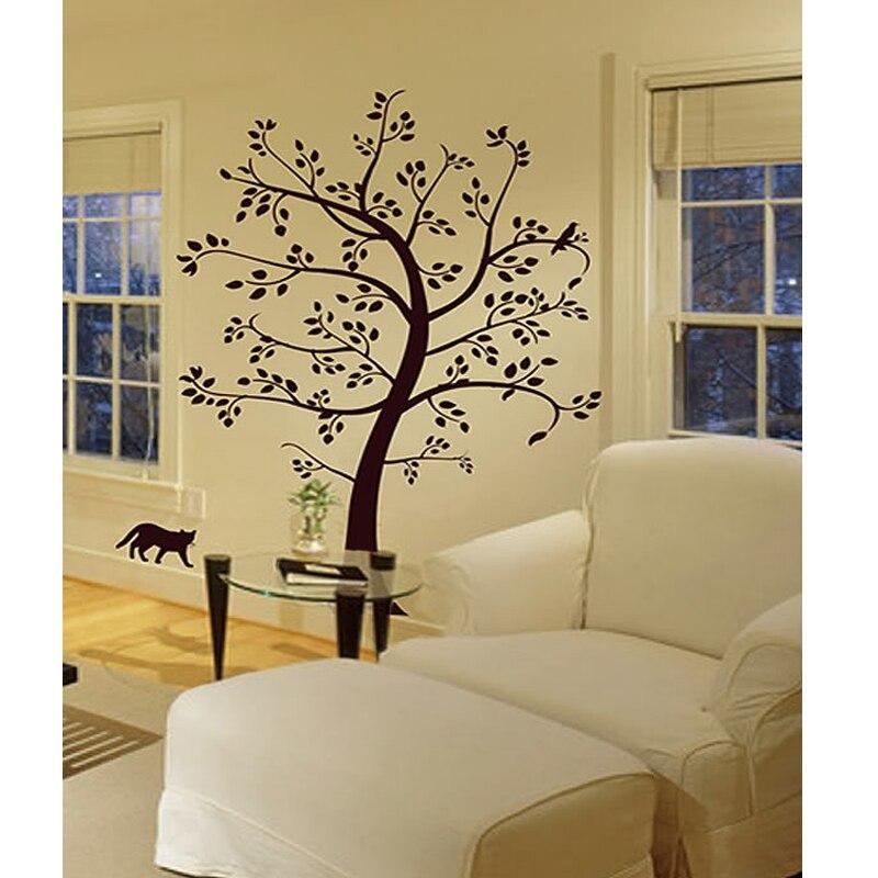 ᑐBig Tree Cat & Bird Wall Decal Decor Art Sticker Mural Children ...