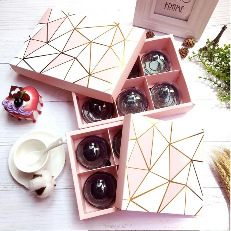 5 Pieces Pink Golden Line Diamond Design Gift Boxes For Candy Boxes, Biscuit Boxes Wedding Gift