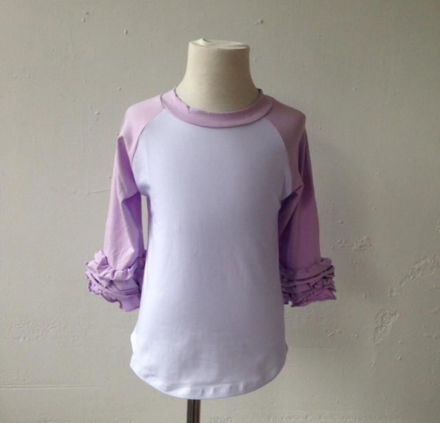 becdb40d Fashion Custom Infant kids Wholesale Ruffle Raglan Tshirts Plain Blank  Icing Raglan Shirts