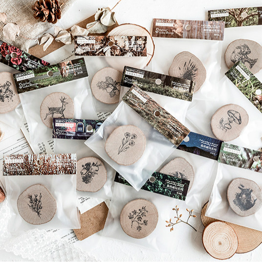 Forest Animals Vinatge Wooden Rubber Stamps Cute Diary Stamp Set For Scrapbooking Diy Craft Card