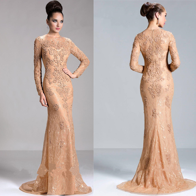 2017 Vogue Lace Champagne Prom Gown Mermaid Liques Mother Dress Long Sleeves Winter Evening Dresses