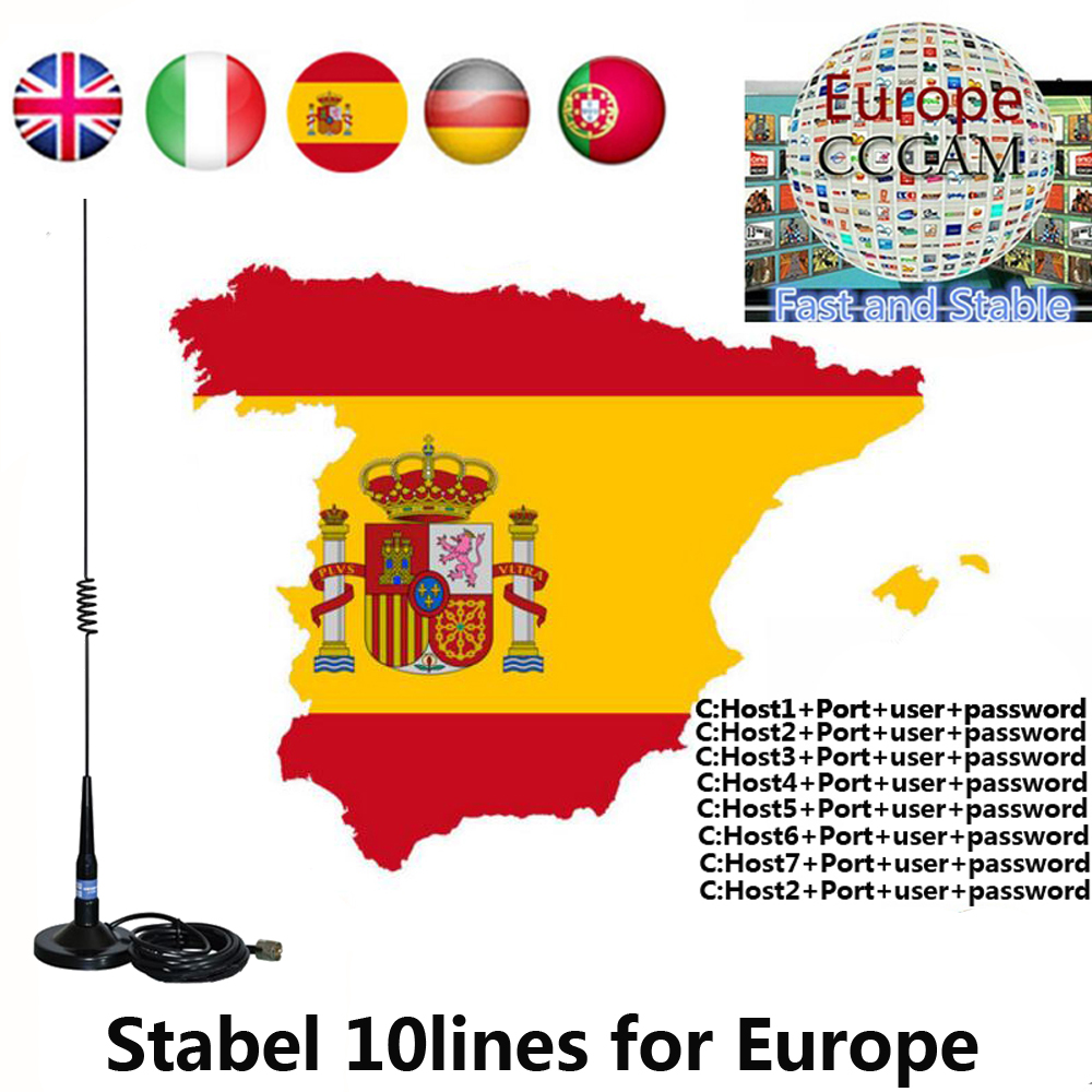 2019 Stable Cccams 6/10lines 1.5 Year For Europe Ccam Spain Portugal Poland Italy Satellite TV Receiver
