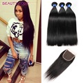 Peruvian Virgin Hair With Closure 8A Unprocessed Peruvian Straight Virgin Hair With Closure 3 Bundles Human Hair With Closure