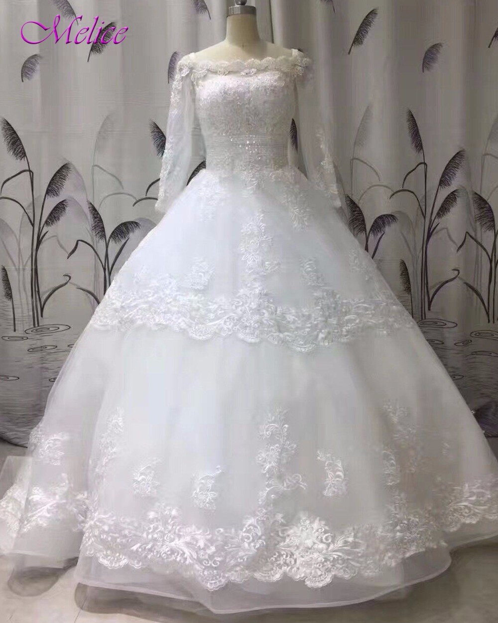 Melice Real Photo Appliques Chapel Train Ball Gown Wedding Dress 2018 Boat Neck Robe De Mariage Long Sleeve Beaded Wedding Gown