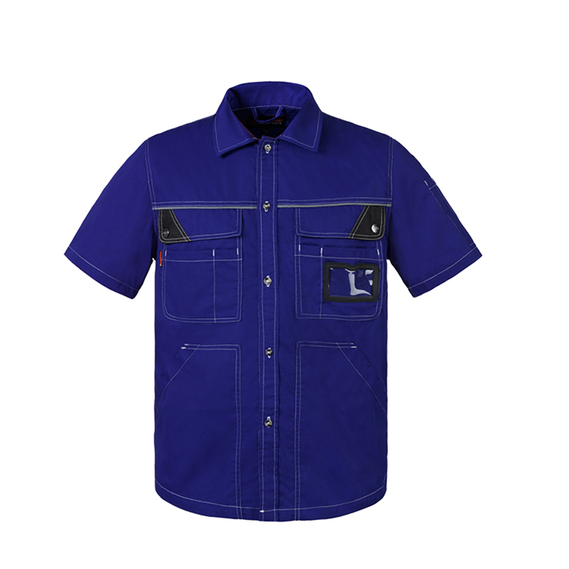 Men 39 s Polyester Cotton Short Sleeves Work Shirts Mens Workwear Cloth Mens Working Uniform Shirts Free Shipping in Safety Clothing from Security amp Protection