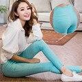 Nova moda de cintura alta elástico Leggings de algodão azul Lady Casual calças bolso calças Skinny