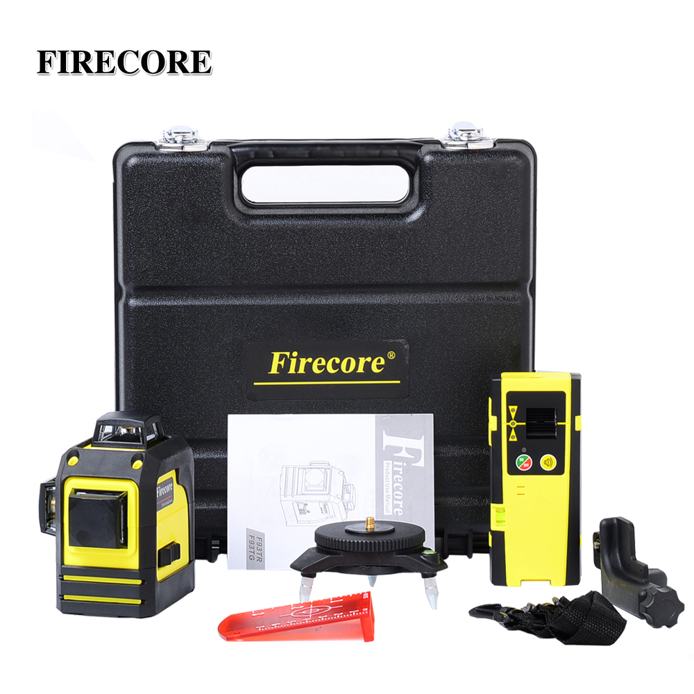 FIRECORE 12Lines 3D F93TR F93TG Red Green Laser Level Self Leveling 360 Horizontal And Vertical Cross