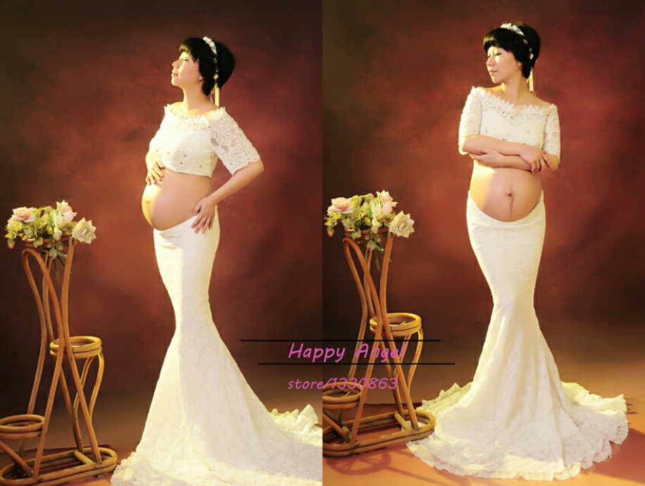 Top quality Maternity Photography Props Pregnant Women Noble Hem Trailing Mermaid white Dress Photo Shoot Fancy costume striped ruffle hem cami top dress