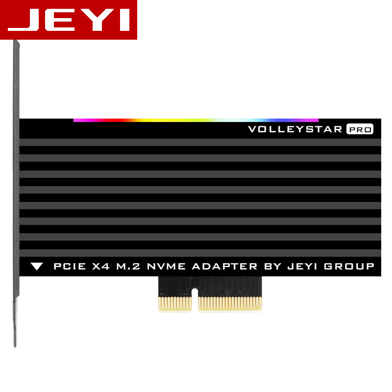 JEYI VolleyStar-PRO Black Heat sink heatsink M.2 NVMe SSD NGFF TO PCIE X4 adapter MKey Port card PCI-E 3.0 x4 full speed RGB LED vakind 100x41mm m 2 nvme ssd ngff to pcie 16x 4x adapter expansion card pcie nvme m 2 ssd to pcie card with heatsink heat sink