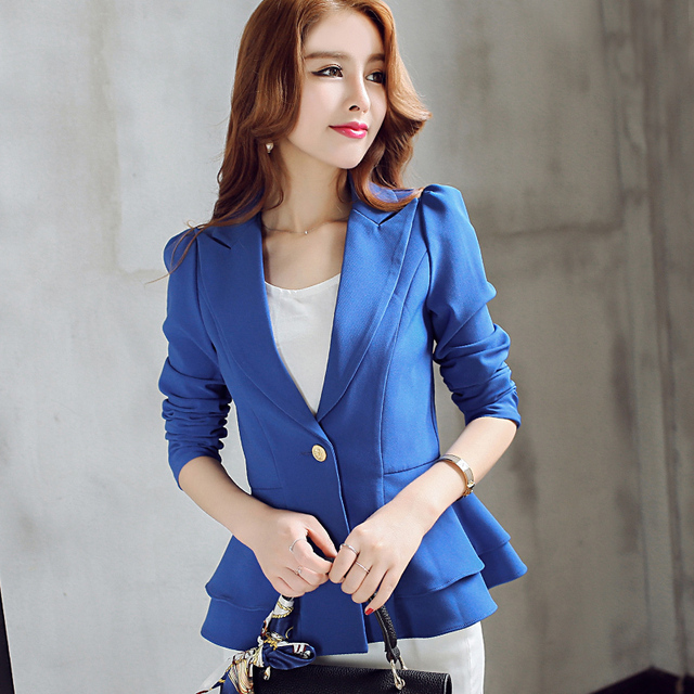 Ladies Blazers 2018 New Fashion Single Button Blazer Women Suit Jacket Black /bule/pink Blaser Female Plus Size Blazer Femme 1