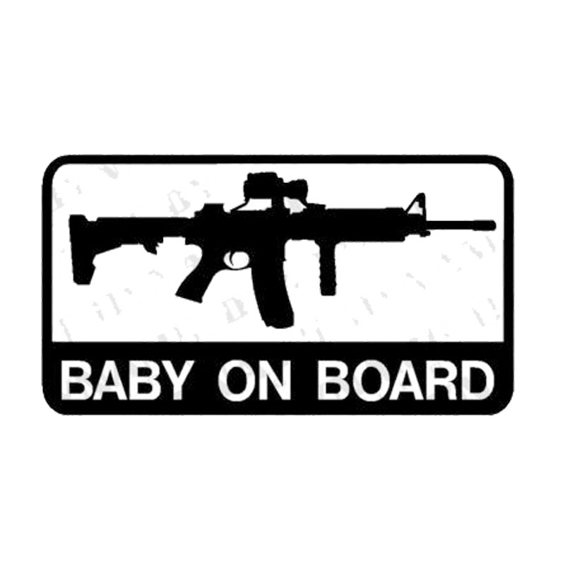 13.3cm*7.5cm Personality Baby On Board AR-15 Army Car Tail Car Stickers C5-1750