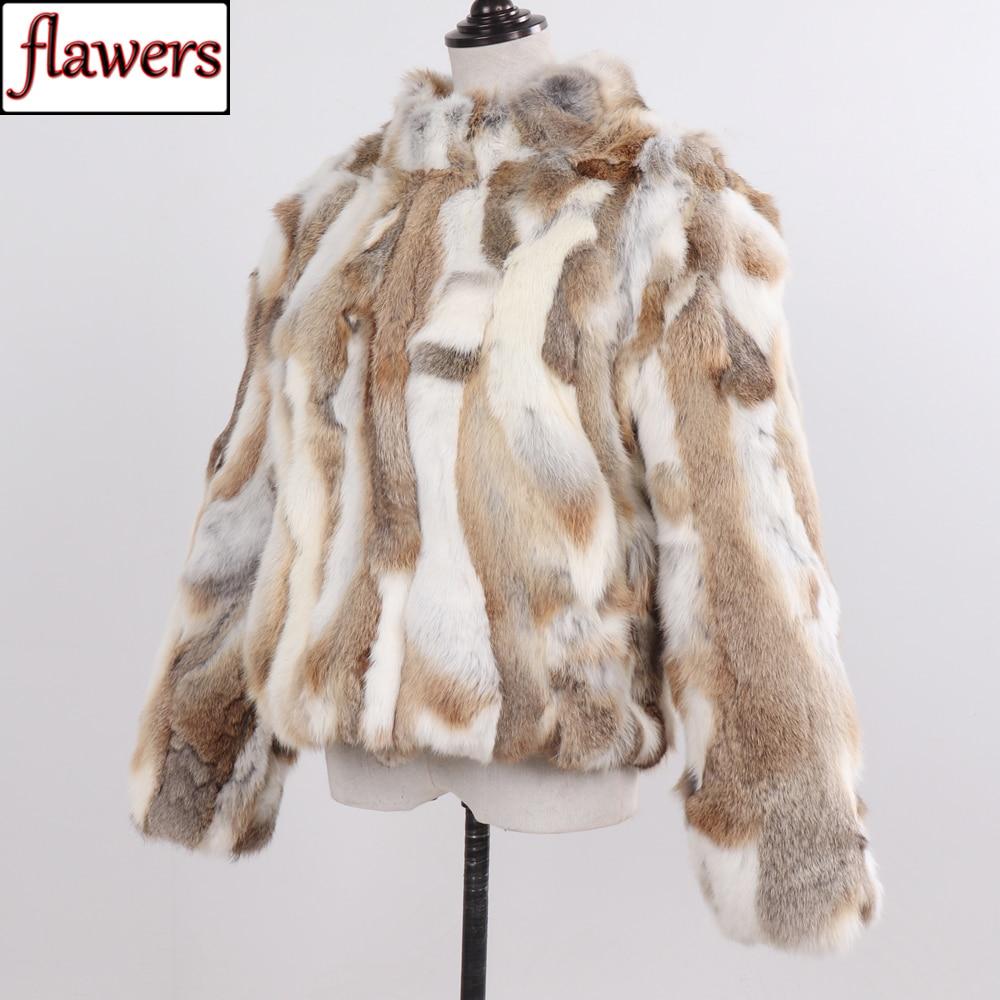 2019 New Style Genuine Rabbit Fur Coat Women Real Rabbit Fur Jacket Lady Winter Fur Overcoat Customized Big Size Mandarin Collar
