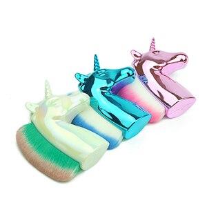 Image 5 - Unicorn Makeup Brushes Unicorn horse Rainbow Holder For Powder Foundation Blush Contour Big Make up unicornio pincel Beauty Tool