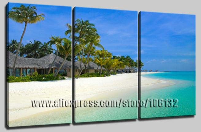 oil paintinghome decor beach palm tree seascape wall art framed 3 panel 100
