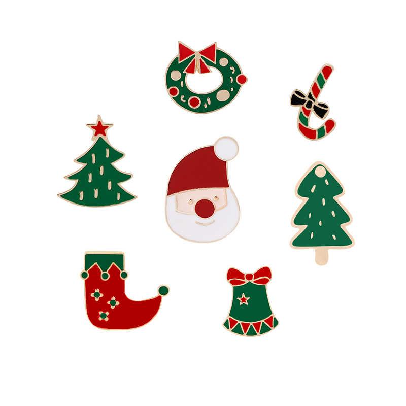 ต้นคริสต์มาสน่ารักรองเท้า Santa Claus Jingle Bell เข็มกลัดการ์ตูนเคลือบ Pins สำหรับฤดูหนาว Lapel Pin ป้ายเครื่องประดับเด็กของขวัญ