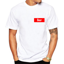 Red square BEER logo t-shirt