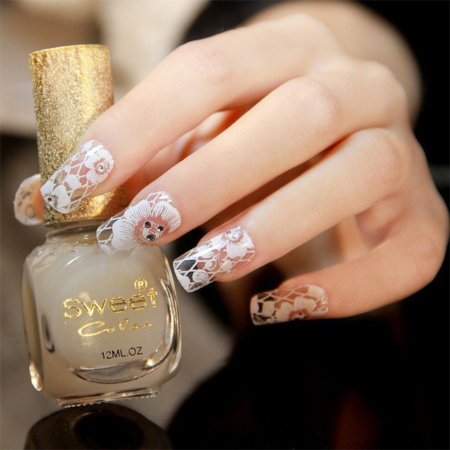 Online Shop 16pcs 1 pack Nail art decorations Nail Stickers White ...
