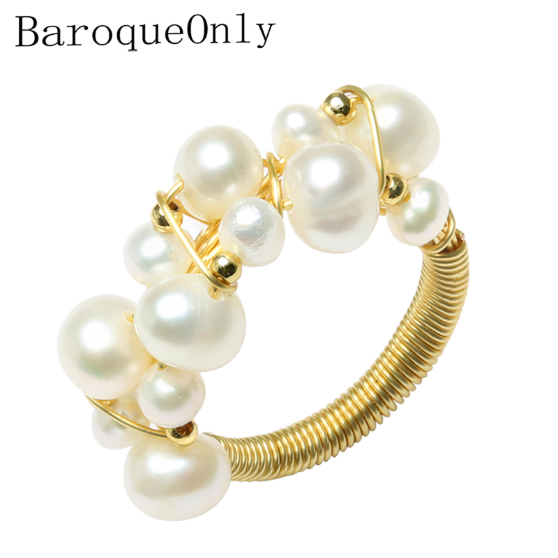 BarqueOnly Handmade Multiple Pearls Wired String Vintage Ring Oval Real Natural Freshwater Pearl ROD Brand JewelryBarqueOnly Handmade Multiple Pearls Wired String Vintage Ring Oval Real Natural Freshwater Pearl ROD Brand Jewelry