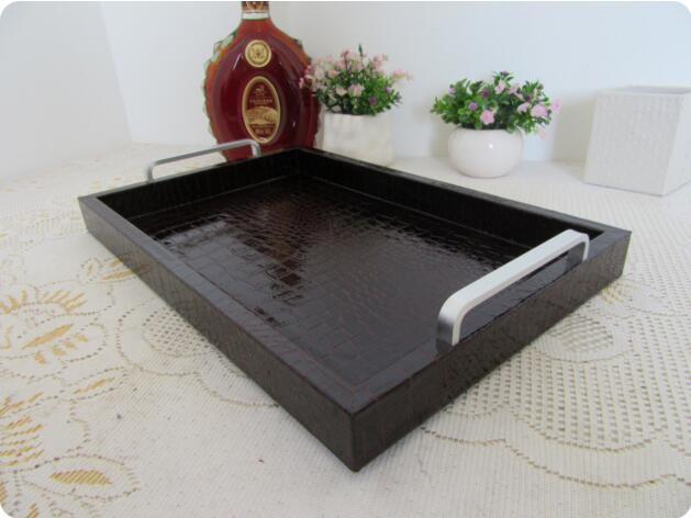 48*30cm wooden structure leather serving tray wooden trays wooden