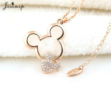 Jisensp New Cartoon Hollow Mickey Necklaces for Women Kids Jewelry Long Chain Mickey Necklace Mouse Animal Necklace Jewelry(China)