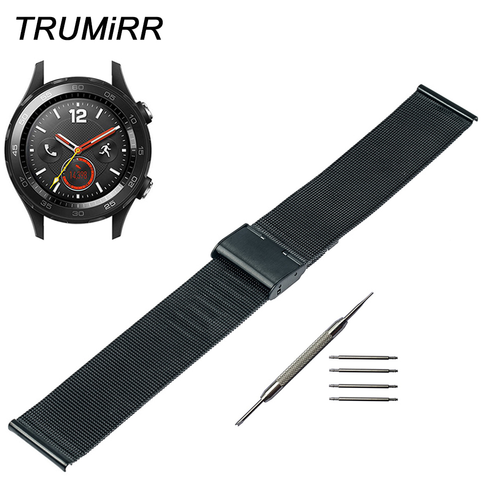 Milanese Watchband for Huawei Watch 2 Pebble Time Round 20mm Bradley Timepiece Stainless Steel Band Wrist Strap Bracelet Black