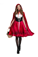 Adult Women Halloween Costume Little Red Riding Hood Stage Role Play Embroidery Dress Cloak Suits Back