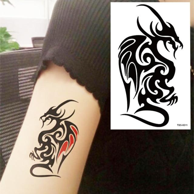 b07f3bd9a Black Dragon Totem Tattoo Body Art 3D Waterproof Temporary Tattoos Sticker  Art Men Arm Leg Fake Tatoo Paper
