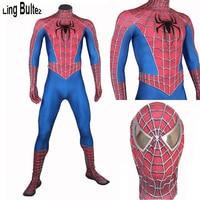 Ling Bultez Высокое качество 3D паутины костюм Человека паука человек паук raimi костюм с 3D пауком Новый Человек паук полноразмерный костюм вечерни