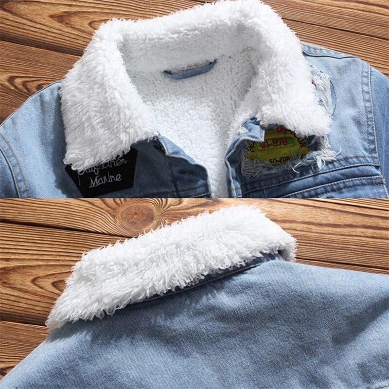 Men Jacket and Coat Trendy Warm Fleece Denim Jacket 2019 Winter Jean Jacket Thick Winter Coat For Male Classic Solid Outerwear